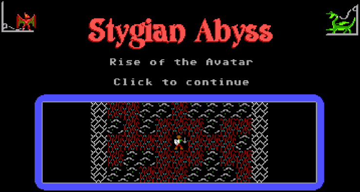 The new title screen depicting the avatar