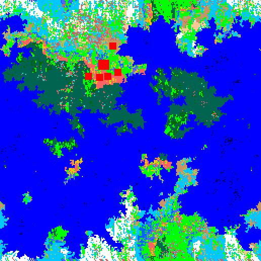 Fig. 7. Resultados Físicos Finales. Después de combinar el tipo de terreno, la temperatura y la lluvia, diferentes biomas son creados en el mundo de acuerdo a una tabla de transformaciones