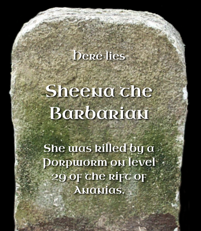 Tombstone of Sheena the Barbarian