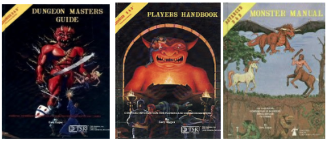 1977-1979 Advanced Dungeons & Dragons 1st Edition (Core rule books and Monster Manual)