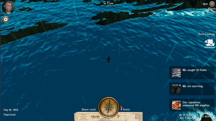 Ship in an open ocean, notification of events happening including catching 17 fishes, consuming 190 supplies, and starving.