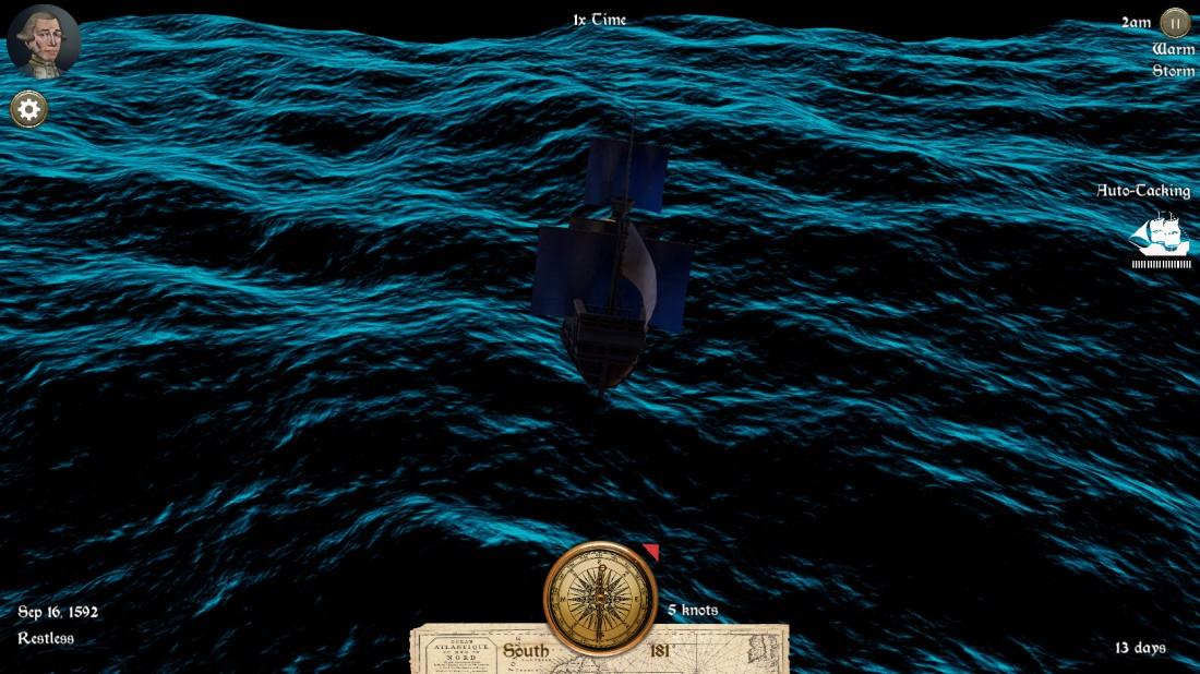 Ship navigating a dark stormy sea